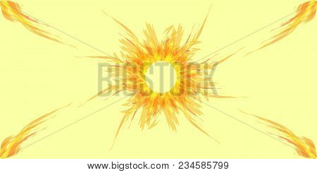 Bright Greeting Card With Sun And Rays Of Light For Congratulations Or Cloth. Light Background With