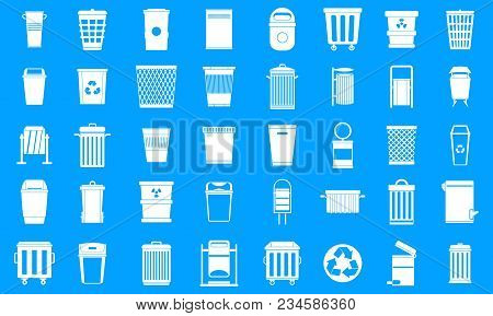 Garbage Can Icon Set. Simple Set Of Garbage Can Vector Icons For Web Design Isolated On Blue Backgro