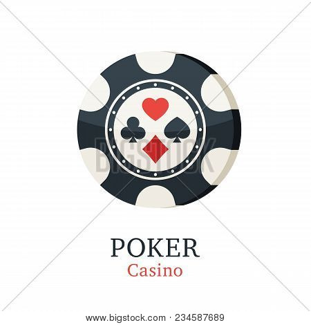 Chips Casino With Card Suits. Gambling Poker Chips Icon. Vector Illustration In Trendy Flat Style On