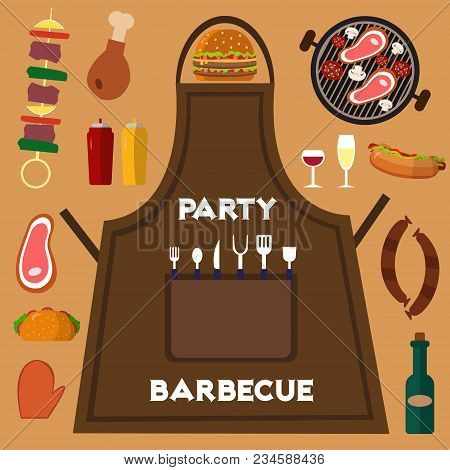 Barbecue Grill Food Banner Vector Illustration. Summer Barbeque Party Flat Set Card With Grilled Chi