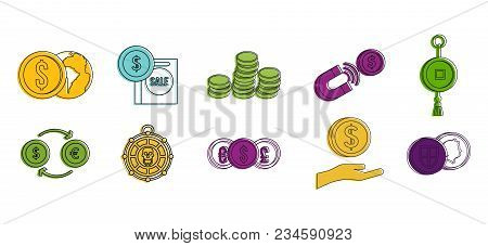 Coin Object Icon Set. Color Outline Set Of Coin Object Vector Icons For Web Design Isolated On White