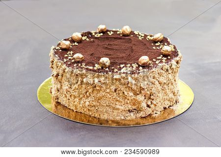 Chocolate Cake, A Beautifully Decorated Cake, A Piece Of Cake. Sweet Birthday Present