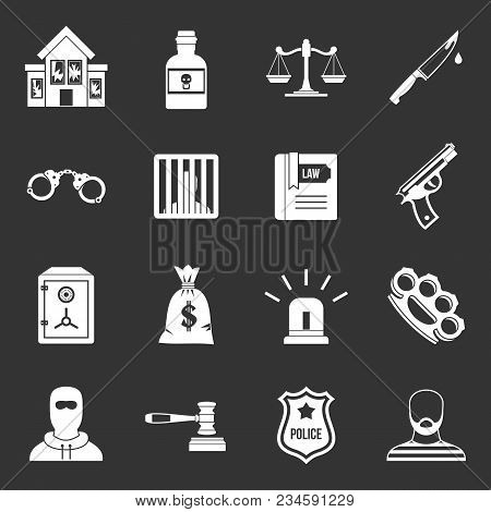 Crime And Punishment Icons Set Vector White Isolated On Grey Background