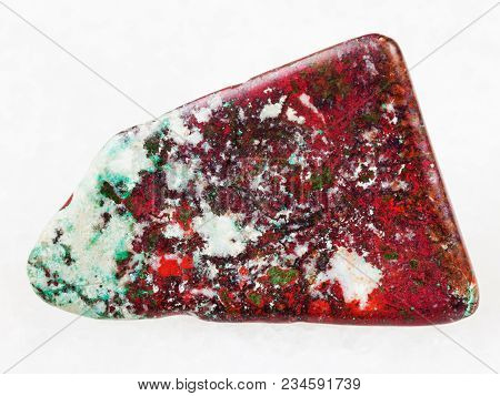 Macro Shooting Of Natural Mineral Rock Specimen - Tumbled Red Cuprite And Green Chrysocolla Gemstone