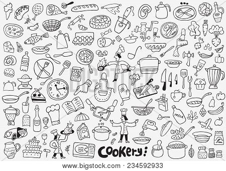 Cookery Doodle Set , Isolated Objects Design Elements