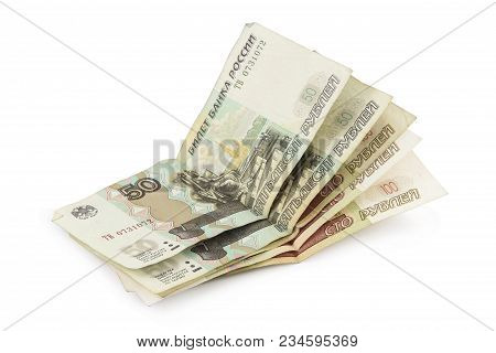 Russian Rubles Fifty And Hundred-ruble Banknotes Isolated On White