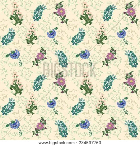 Wildflowers Drawn Pattern Background Lily Of The Valley Cornflower Pink Blue Green
