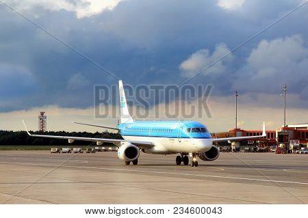 Berlin, Germany - September 9, 2013: Klm Cityhopper Embraer Erj-190std At The Air Field Of The Tegel