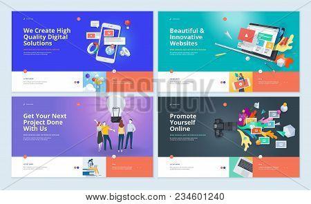 Set Of Website Template Designs. Modern Vector Illustration Concepts Of Web Page Design For Website