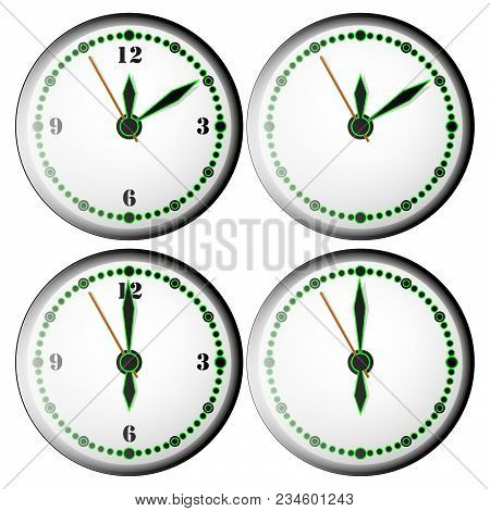 Magnificent four clocks with special design with brilliance on an empty white background poster