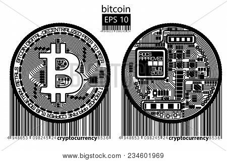 Bitcoin. Physical Bit Coin. Digital Currency. Cryptocurrency. Golden Double Sided Coin With Bitcoin