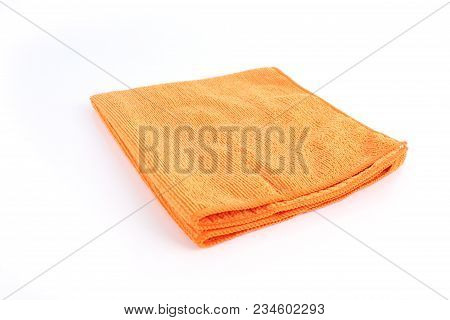 Orenge Cleaning Rag Microfiber Cloth Isolated On White Background