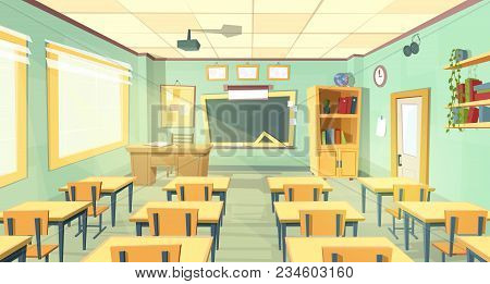 Vector Cartoon Background With Empty Classroom, Interior Inside. Back To School Concept Illustration