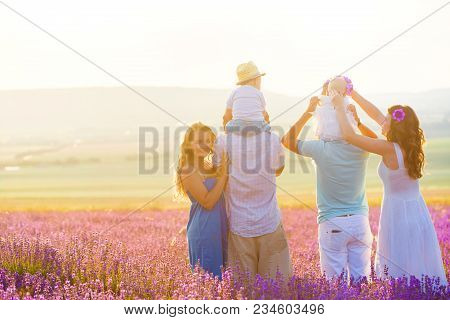 Two Couples With Their Children Have A Rest In Provence. Beautiful Young Family With Little Boy And