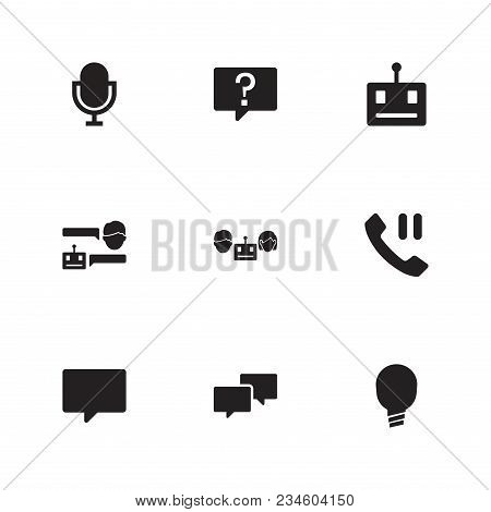 Bot Communication Icon Set And Bubble With Chatbot With Man, Chatbot Robot And Support. Bulb Related