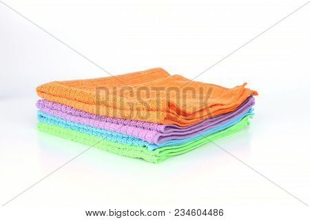 Cleaning Rag Microfiber Cloth Isolated On White Background