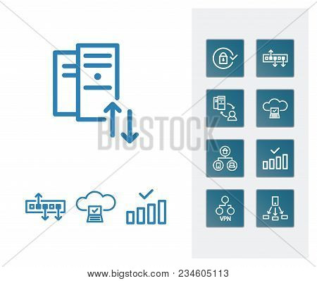 Cloud Computing And Server Technology Icon Line Set With Hub, Hosting And Internet Of Things. Sharin