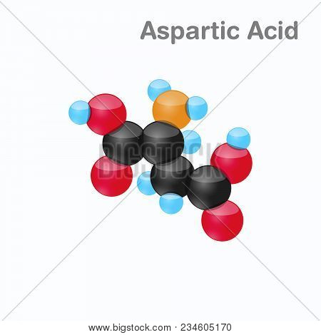 Molecule Of Aspartic Acid, Asp, An Amino Acid Used In The Biosynthesis Of Proteins, Vector Illustrat