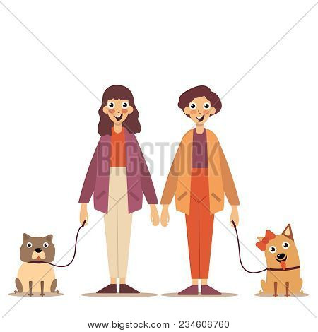 Couple In Love, Walk. Happy People Walking Their Pets. Young Guy And Girl Walking With Dogs, Colorfu