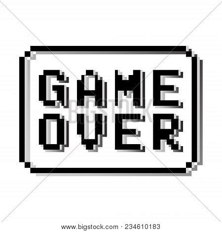 Game Over Pixel Design Stamp. Old Video Game Text Message. Vector Illustration.
