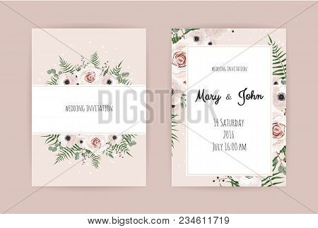 Vector Invitation With Handmade Floral Elements. Wedding Invitation Cards With Floral Elements. Vect