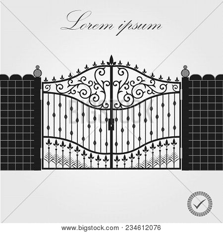 Forged Gate. Architecture Detail. Decorative Wrought Fences And Gates Vector Set. Black Gate Fence F