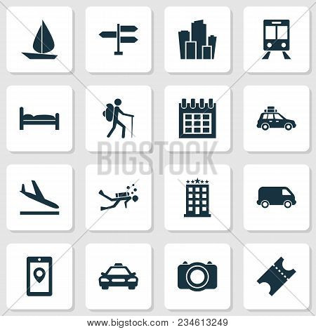 Exploration Icons Set With Signpost, Bed, Suv And Other Almanac Elements. Isolated  Illustration Exp