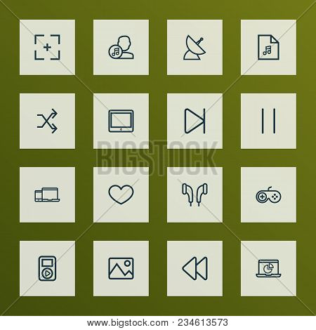 Multimedia Icons Line Style Set With Full Screen, Tablet, Artist And Other Infographic Elements. Iso