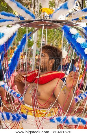 Hindu Devotee With Kavadi