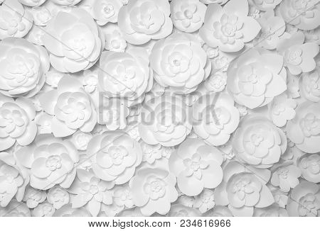 White Paper Flowers On White Background. Photo