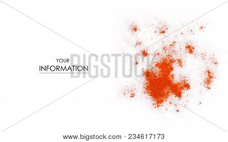 Pile Paprika Seasoning Ground On White Background Pattern, With Top View