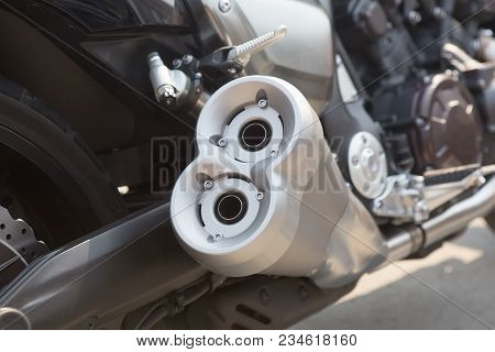 Powerful Motorcycle Exhaust Twin Pipes Closeup Photo