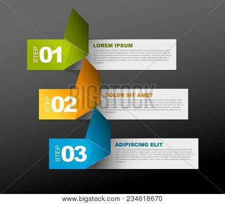 Vector Paper Progress Template With Three Steps - Green, Orange And Blue On Dark Background