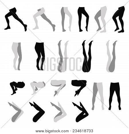 Female Feet Tights Stockings Leggings Silhouette Black Variants Set Isolated On White Background Vec