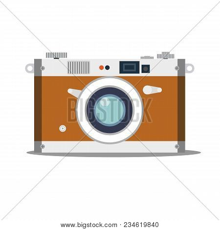 Detailed Old Vintage Camera Isolated Over Blue Background. Stock Flat Vector Illustration.