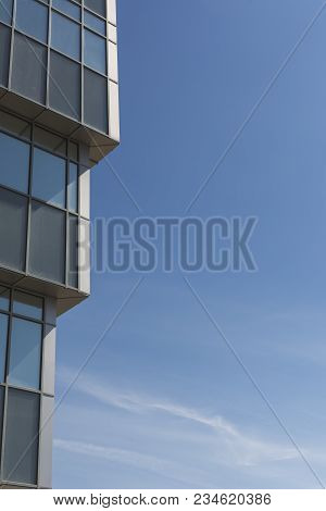Facade Of Modern Contemporary Building, Office Building, Business Background Building Made Of Steel