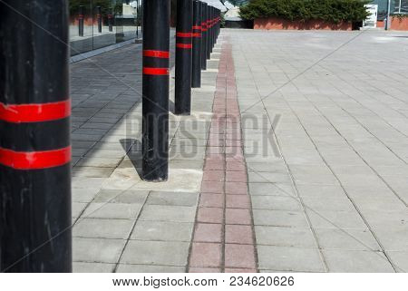 Non Parking Space, Red-black Stripes Pole. Security Pole Urban City Details Concept
