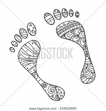 Foots. Hand Drawn Element With Abstract Patterns On Isolation Background. Design For Spiritual Relax
