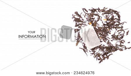 Tea Leaf With Fruit Tea Bag Pattern On White Background, Top View