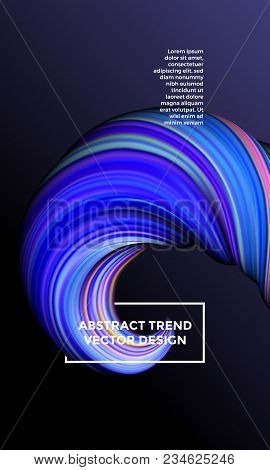 Vector Digital Painting Abstract Background. Creative Vivid 3d Flow Paint Wave. Trendy Blue Liquid B