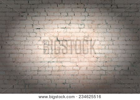 Pale Orange, Beige Brick Wall From The Unseen Rows. Light Empty Background With Vignette. Texture Of
