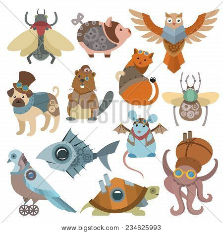 Animals Steampunk Vector Animalistic Characters In Steam Punk And Industrial Style Illustration Set