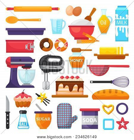 Baking Vector Kitchenware And Food Bakery Ingredients For Cake Illustration Caking Set Of Cooking Cu