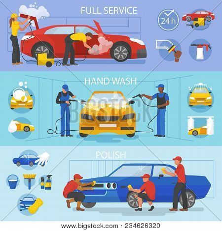 Car Wash Vector Car-washing Service With People Cleaning Auto Or Vehicle Illustration Set Of Car-was