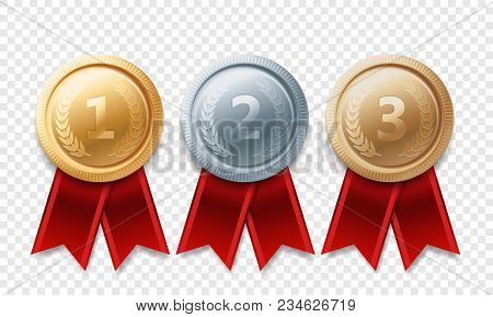 Gold, Silver, Bronze Champion Medal Set. Vector Metal Award Trophy Achievement With Red Ribbon Isola