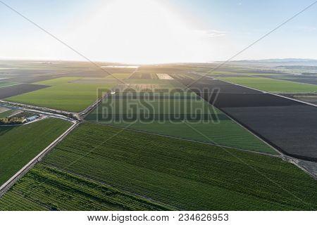 Aerial view of coastal farm fields near Oxnard in Ventura County, California.