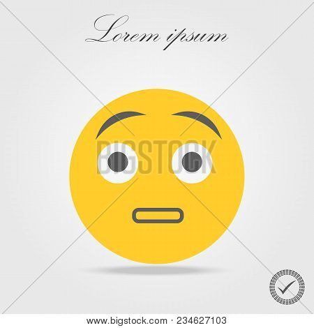 Cute Surprised Emoticon On White Background. Isolated Vector Illustration Eps