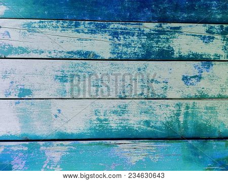 Blue Wooden Fence Background. Close-up Wall Or Floor Wooden Blue Plank Panel Or Board As Background