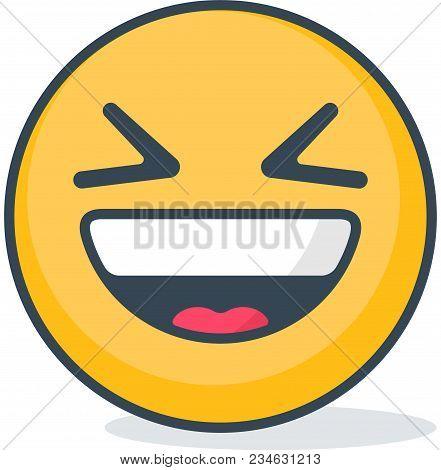 Isolated Ridicule Emoticon. Isolated Emoticon On White Background