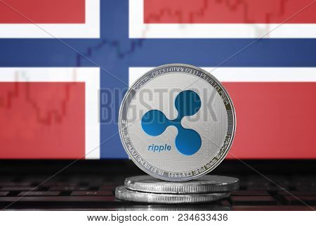 Ripple (xrp) Cryptocurrency; Physical Concept Ripple Coin On The Background Of The Flag Of Norway